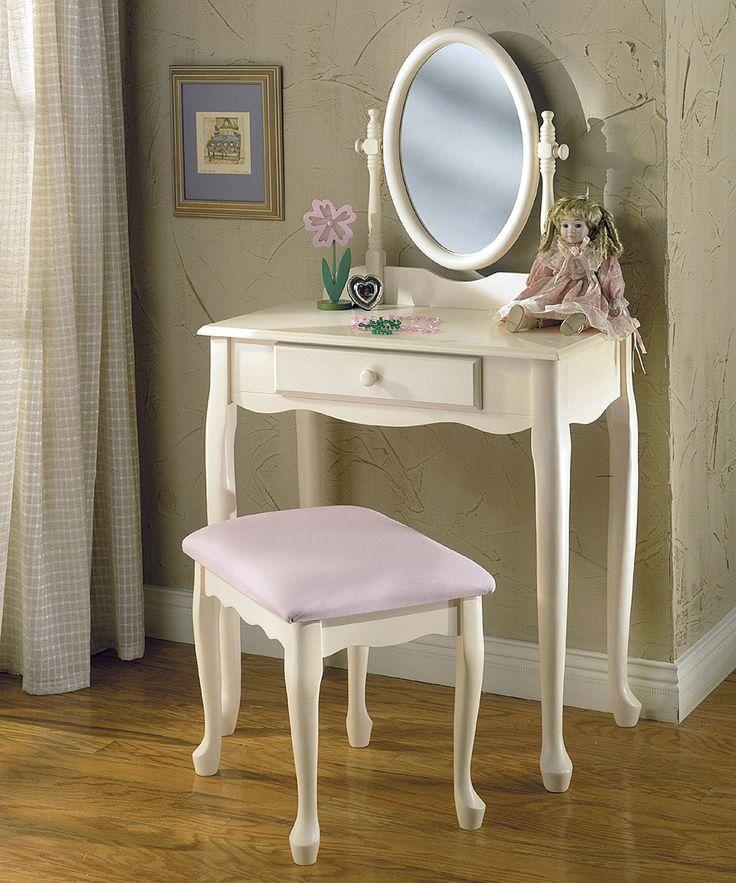 Off-White Vanity & Bench