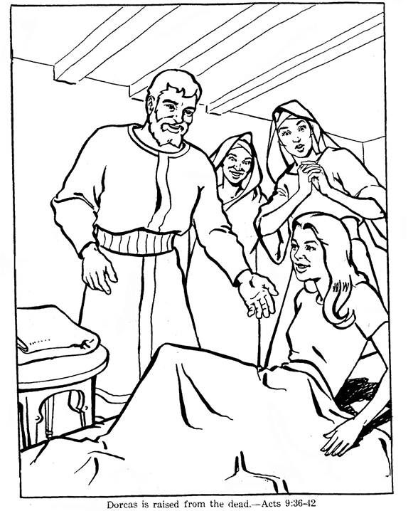 Coloring Peter Tabitha June16 Peter Tabitha Dorcas Coloring Page