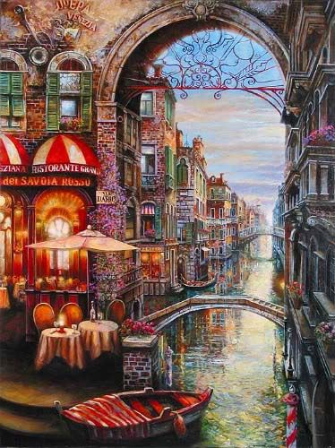 """Via Dario"" Canal Cafe, Venice by Vadik Suljakov, an artist born in Russia. Vadik received his formal training at the prestigious Moscow First Art School. On a visit to Italy & France, Suljakov was enchanted by the awe-inspiring cities steeped in history & began painting the beautiful landscapes & city scenes he so admired. Suljakov depicts idyllic, tranquil worlds in his paintings, which are exquisitely romantic & rich with color. He calls his style ""modern impressionist with a surreal…"