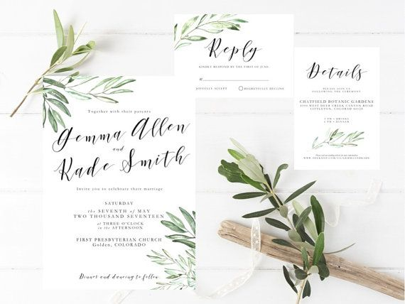 Printable Olive Leaves Wedding Invitation Suite, Olive Branch Invite Template, Greenery invitation, Romantic, Whimsical, Botanical