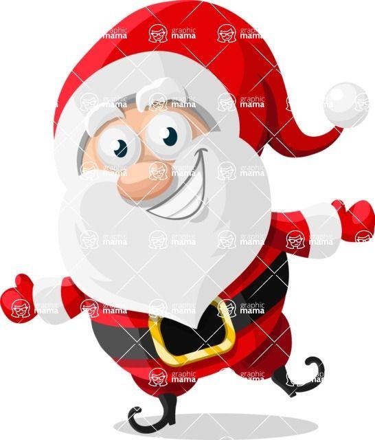 Vector Santa Claus Cartoon Character jumping and joyful #Christmas #illustration #joyful #mood