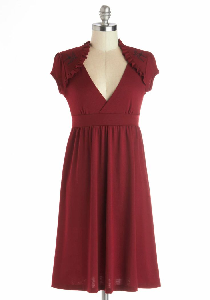 Belles and Whistles Dress in Burgundy. If youve ever dreamed of breaking into song at work, then this soft, burgundy dress is for you! #red #modcloth
