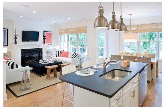 Lynn Morgan Design White Kitchen Living Room Open Floor Plan Open Floor Open Plan Kitchen Living Room Living Room And Kitchen Design Living Room Floor Plans