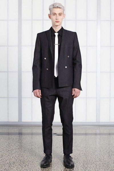 s/s 13/14 mens key looks - M18. mr grey jacket in indigo, business shirt in black lawn, super skinny tie in white, cropped knife trouser in indigo.