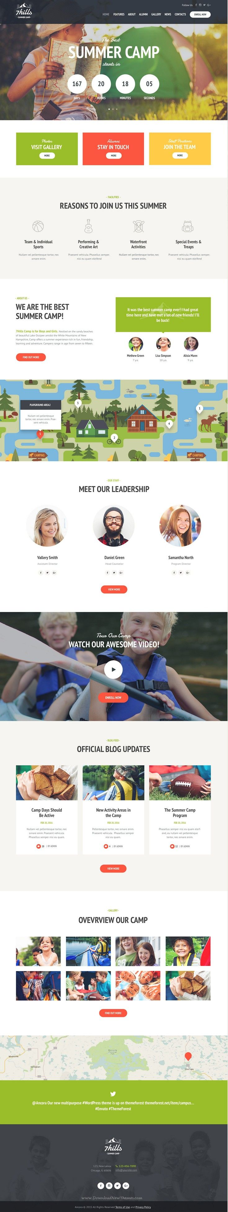 SevenHills is a WordPress theme with minimal design best suitable for Summer #Camp or Outdoors #Activities #website. Download Now!