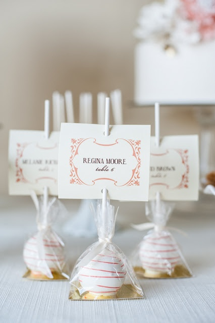 Cake Lollipop Escort Favors #escortcard