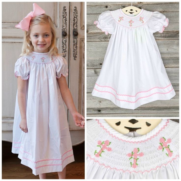 Smocked Pink Cross &amp Vine Dress White Pre-Order shipping by March ...