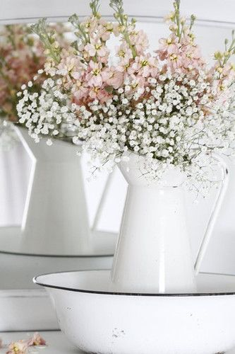 `Enamelware..  one color WHITE..AND then any colors of flowers..  bed/dining/patio/country pretty living area..it works   oh..in kitchen..yea..but i like to bring the not expected into another room
