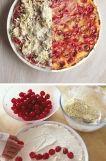 === Ingredience === jakékoliv sezónní ovoce, my jsme použili třešně, nezapomeňte je vypeckovat : ) 1 kostku tvarohu (250 g) cca 1 dl mléka 150 g másla 150 g polohrubé mouky 70 g cukru citrónová šťáva na ochucení tvarohu zrníčka z jednoho vanilkového lusku  === Příprava === Našlehejte si kostku tvarohu s mlékem, přidejte 1–2 lžíce cukru, citrónovou šťávu a zrníčka z vanilkového lusku. Ochutnejte a podle vaší chuti dochuťte.  My jsme si ztvrdlé máslo z lednice nastrouhali na hrubo na struhadle…