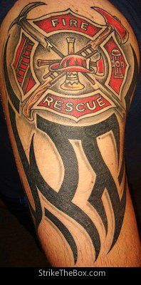 Firefighter Maltese Cross/Tribal Tattoo (arm) | Shared by LION