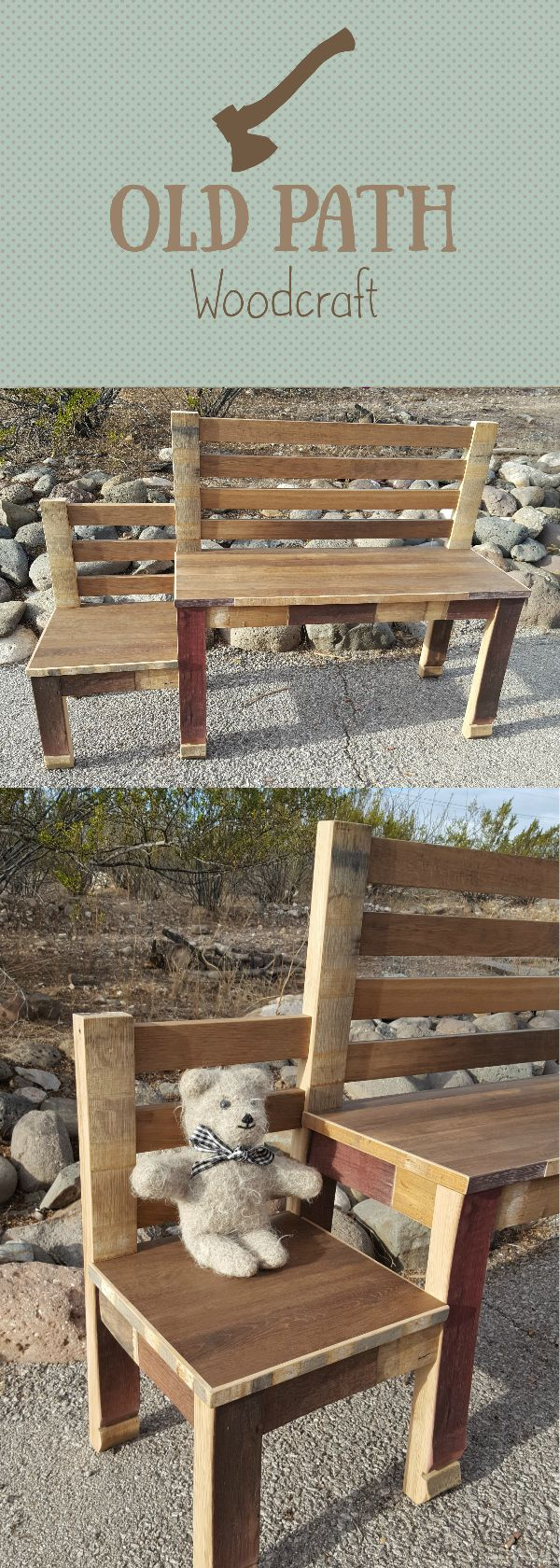 Wine Barrel Hall Bench with childs seating