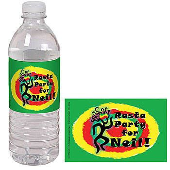 These exclusive Reggae Water Bottle Labels have a circle design in yellow, red and green with a rasta dancer next to your custom text.