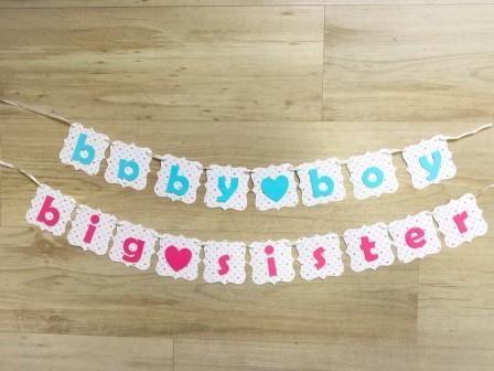 Ghirlanda Baby Boy / Big Sister realizata manualdin carton colorat  Ghirlandaeste realizata din stegulete de aproximativ 6cm. Pretul afisat este pentru o litera.