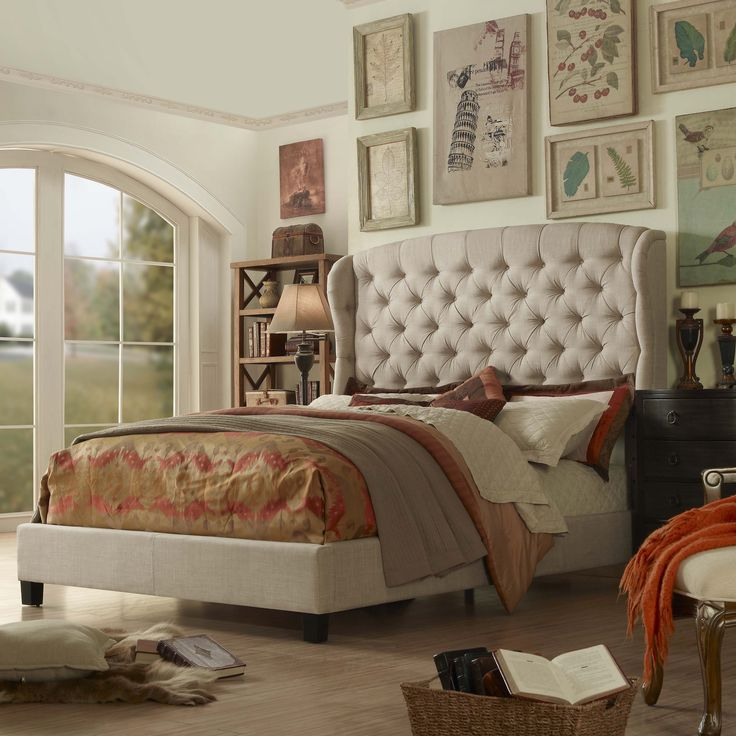 Moser Bay Furniture Feliciti Tufted Wingback Upholstered Bed (Beige - Wood Finish/Espresso Finish/Beige Finish), Size Queen