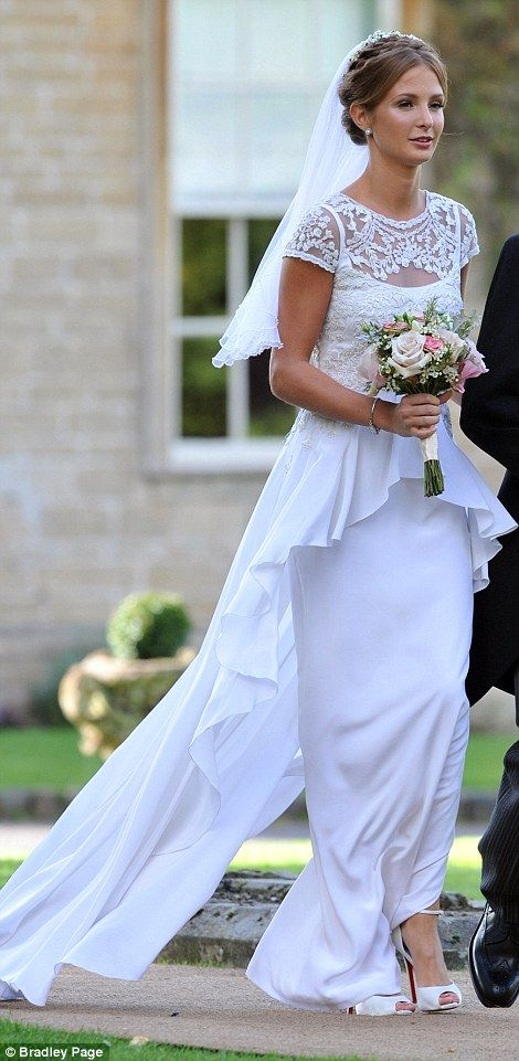 Dress inspiration: Millie Mackintosh (from Made in Chelsea) got married! Millie said I Do wearing a vintage lace Alice Temperley wedding dress and Christian Louboutin peep-toe shoes in white.