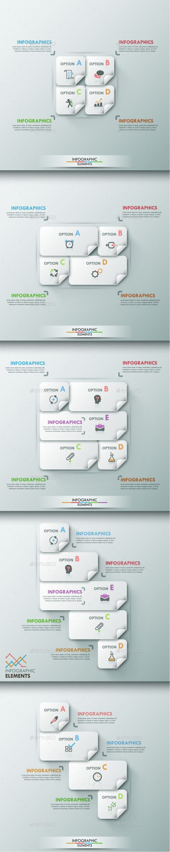 Modern Infographic Options Template (5 Items) — Photoshop PSD #set #vector • Available here → graphicriver.net/…
