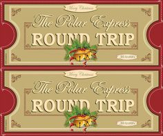 Free, printable Polar Express tickets.  Perfect for your Polar Express party...or how about as gift tags at Christmas? #polarexpress