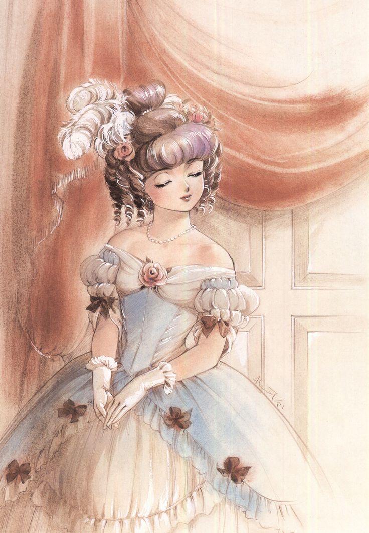 "Yu Morisawa as Marie Antoinette with blue & white Rococo dress from ""Creamy Mami The Magic Angel"" series by manga artist Akemi Takada."