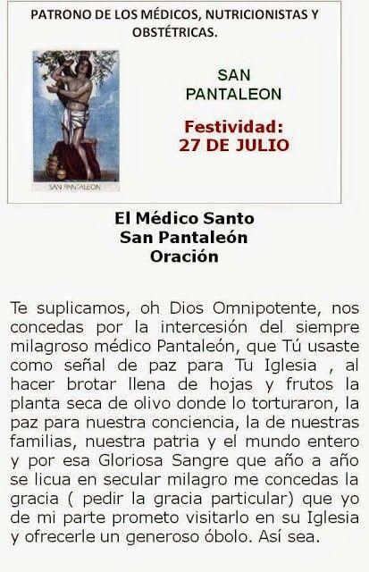 Oración a San Pantaleon, patrono de los médicos.