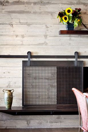 sliding fire screen