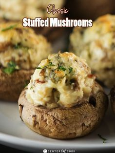 Stuffed Mushrooms Recipe ~ Classic Stuffed Mushrooms with a creamy cheesy filling including garlic and parmesan cheese get baked until the tops are lightly golden and delicious!