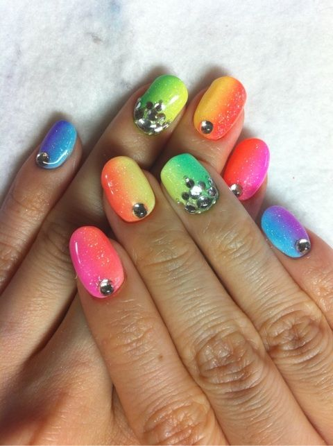 neon nails with glitter - Google Search