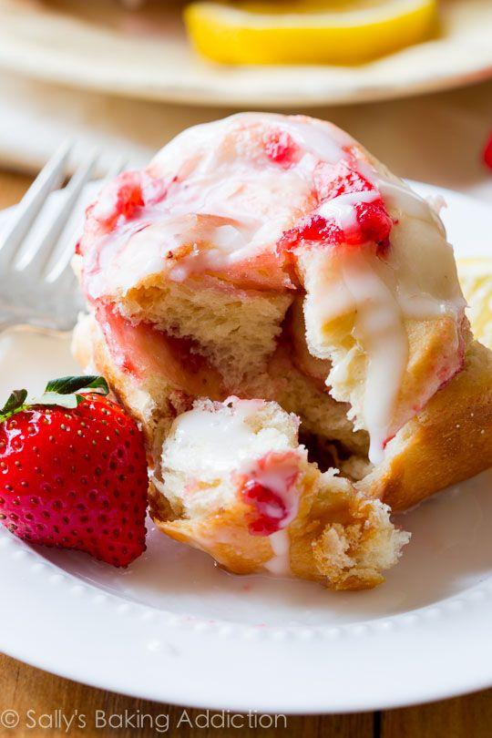 Strawberry Rolls with Sweet Lemon Glaze.