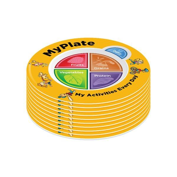 These MyPlate Plastic Plates are perfect to use as an educational tool to show kids and their parents and caregivers how to make a healthy plate with the new USDA icon, MyPlate.