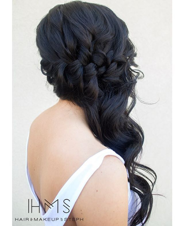 braided long sideswept wedding hair ~ we ❤ this! moncheribridals.com