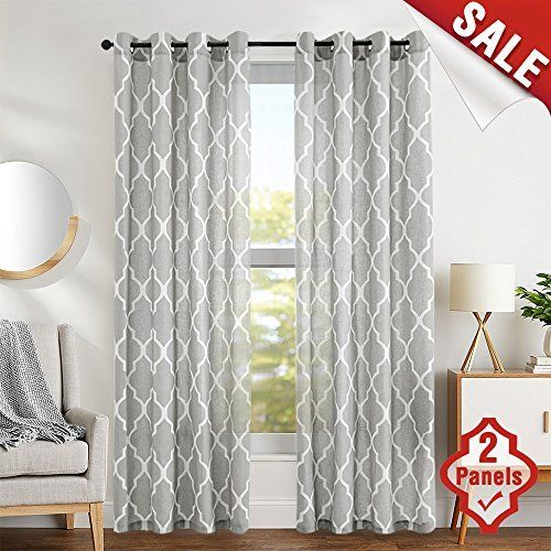 Moroccan Tile Printed Linen Curtains 95 Inch Long For Bedroom