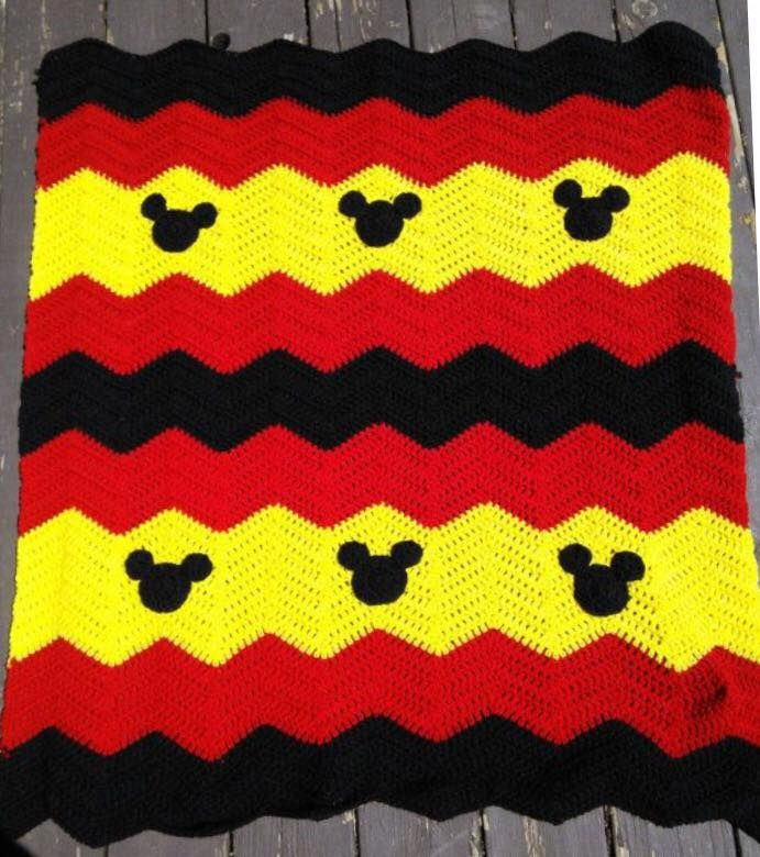 Crocheted chevron baby blanket with your choice of Minnie