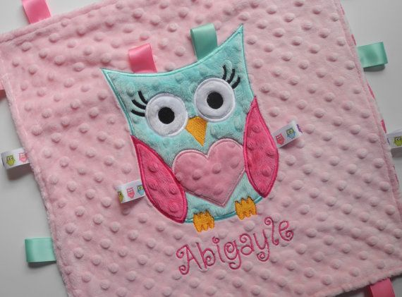 Personalized Baby Lovey Blanket, Baby Girl Owl, Pink, Minky Chevron Blanket, Minky Baby Blanket, Sensory Ribbons, Made to Order, Custom on Etsy, $22.99