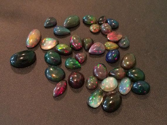 WHOLESALE 10 Pcs Black Opal Cabochons Ethiopian by gemsforjewels