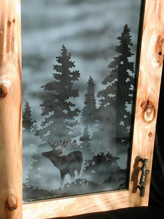 Etched Elk Or Other Wildlife Cabinet Glass Etsy Glass Fireplace Birds In The Sky Glass Photo
