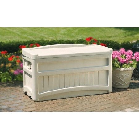 Suncast Deck Box with Seat and Wheels Taupe - 73 Gallon : Target