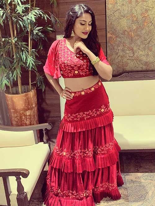 476537a0254cc7 Exclusive Surbhi Chandna In Maroon Colored Three Layer Lehenga With Beautiful  Crop Top .Look Beautiful by wearing this Stylist Designer Lehenga Choli.