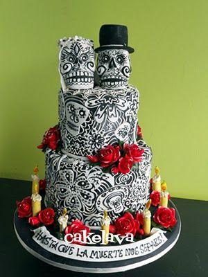 cake: Wedding Ideas, Sugar Skull, Skull Cakes, Of The, Red Rose, Skull Wedding Cakes, Anniversaries Cakes, Dead, Day