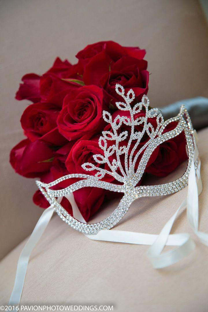 Pavion Photography captures a shot of Bridal Mask and Boquet
