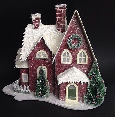 SNOWY GLITTER CARDBOARD CHRISTMAS HOUSE w/ Trees MICA PUTZ STYLE White LIGHT