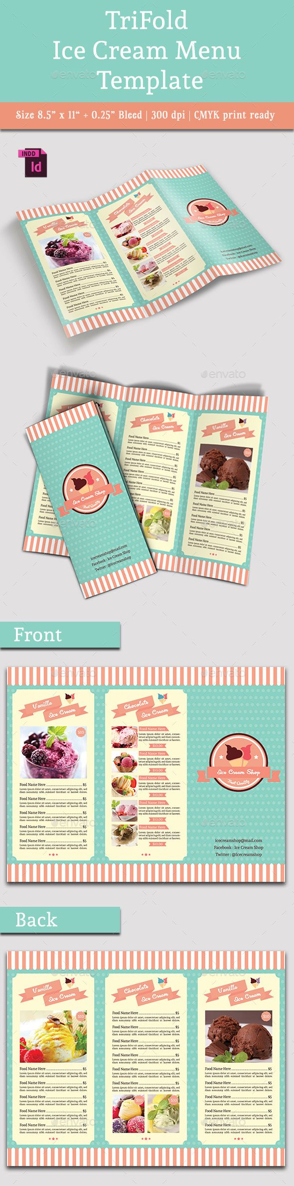 TriFold Ice Cream Menu Template #design Download: http://graphicriver.net/item/trifold-ice-cream-menu-template-vol-2/13064294?ref=ksioks