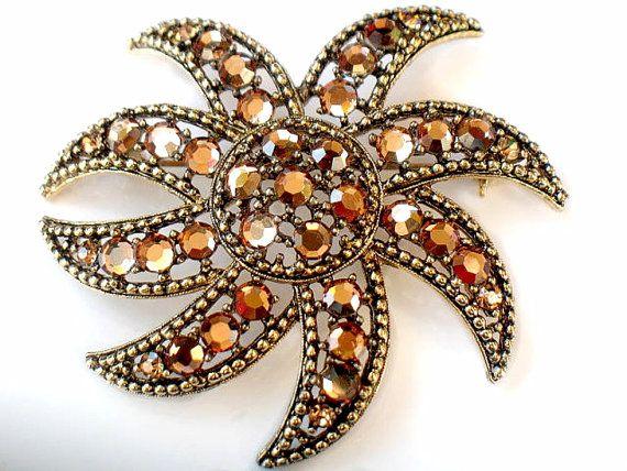 WEISS Swarovski Brooch Aurum Crystal Flower by JewelryQuestDesign, $42.99