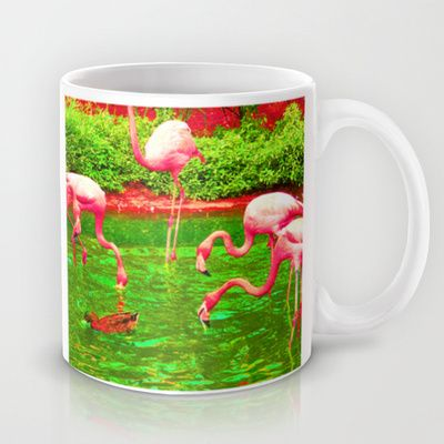 Flaming Flamingo Mug by The Digital Weaver - $15.00