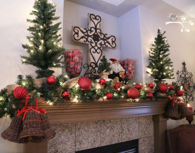 Traditional Christmas Mantel Lights Display