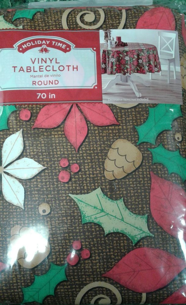 Poinsettia Vinyl Table Cloth Round 70 inches New Holly Brown Berries #HolidayTime