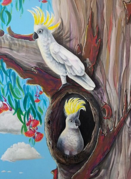 Nesting pair of Cockatoo's from GUM TREE MURAL by Australian Artist, Selinah Bull http://www.selinahbull.com