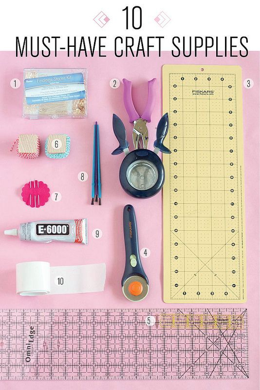 1. Jewelry Starter Kit // 2. Single Hole Puncher // 3.Self-Healing Cutting Mat // 4.Rotary Cutter // 5. Acrylic Ruler // 6. Baker's Twine  // 7. Embroidery Needles  // 8. Cheap Paint Brushes // 9.Really Strong Glue // 10. Sticky Dots