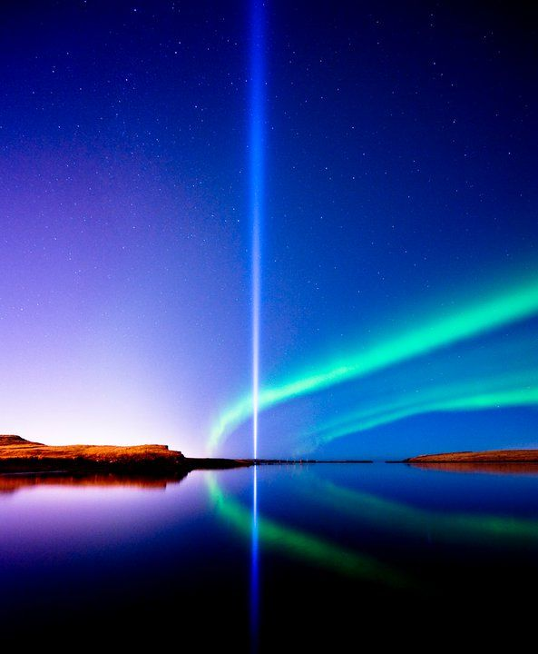 Imagine Peace Tower,,, A light column made in memory of John Lennon. Yoko Ono had it made in Reykjavik, Iceland few years ago and it shines every night from oct 9th, Lennons birthday and until the day he was shot.. Very beautiful monument...