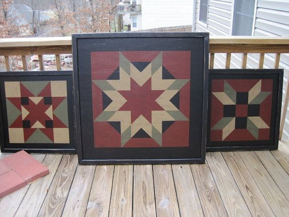 PriMiTiVe Hand-Painted Barn Quilt Thick Frame 2' x by CrowCorner