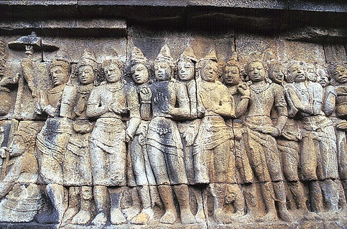 Borobudur, Indonesia.Bas-relief at Borobudur