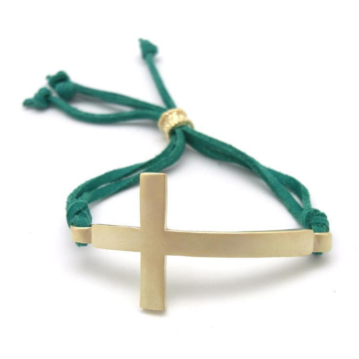 Pulsera cruz dorada ante flecos » Torques Complementos. Venta online de complementos de moda